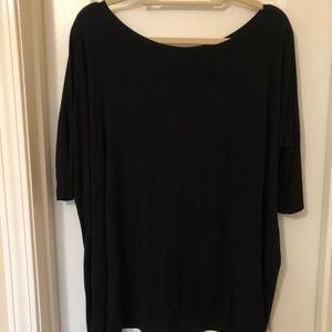 Black Piko Half Sleeve Tunic Top